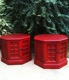 Set of 2 60's - 70's Red Vintage / Retro / Boho Octagon Nightstands , End , Side , Accent ,Tables , Slightly Distressed. $220.00, via Etsy.