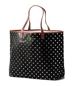 Lands' End Print Coated Canvas Large Shopper: Wipeable coated canvas and a secure snap closure keeps it super-practical.