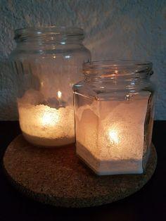 5hugs: Eiskristall-Windlichter Mason Jars, Candle Jars, Candles, Home Canning, Christmas Presents, Christmas, Do Crafts, Candle Mason Jars, Canning Jars