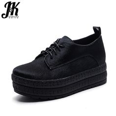 J&K 2017 New Genuine Leather Horsehair Women's Vulcanize Shoes Fashion Falt Women Shoes Sexy Thick Sole Platform Casual Shoes