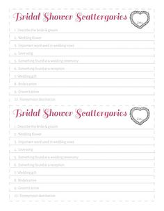 Free Bridal Shower Scattergories Game Printable