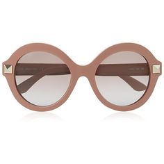 Valentino Round Frame Stud Sunglasses found on Polyvore
