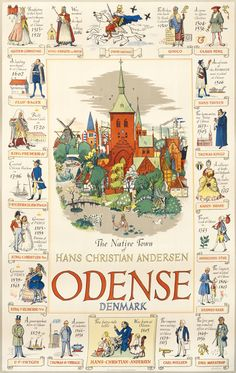 Vintage Poster or Odense Denmark Hans Christian Andersen x Poster is in good condition with light edge wear. Light crinkling on the top of the poster. The poster pictured is the print for sale. Odense Denmark, Copenhagen Denmark, Vintage Travel Posters, Vintage World Maps, Lappland, Danish Culture, Denmark Travel, Denmark Europe, Prince Charmant