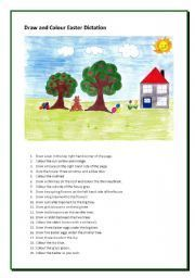 English worksheet: Draw and Colour Easter Dictation
