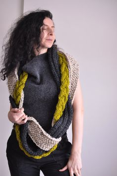 Infinity Scarf Circular Scarf Loop Scarf Wrap hand knit knitted chunky unisex cable texture braided - The Great Escape - CHOOSE your COLORS by EveldasNeverland on Etsy Chunky Knitting Patterns, Hand Knitting, Knitting Ideas, Loop Scarf, Scarf Wrap, Crochet Braids, Knit Crochet, Knitted Baby, Necklaces