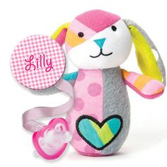 Personalize Clip and FREE JollyPop with the Britto Bebe Puppy Rattle. In Pink or Blue!