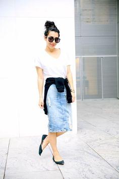 Denim skirt (I never like fake rips, but I like the shape)