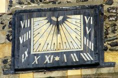 "Up Close and Personal - St Mary the Virgin Church Sundial, Dover, England, UK. Vertically declining sun dial added to St Mary's Church bell tower in 1656. Zoom lens reveals no inscription. 1914 ""Ye Sundial Booke"" by Thomas Geoffrey Wall Henslow attributes this poem to the dial: ""Ye hours that pass beyond recall - Our God hath taken count of all - Determine, then, all time shall be - Not wasted, but improved by thee."" Urban (Cannon Street) History. See: http://www.panoramio.com/photo/86994834"
