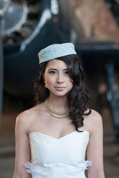 bride with pillbox hat from Olivia Gird