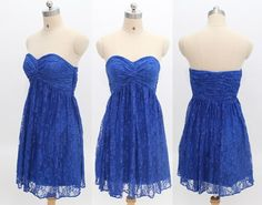 Elegant A-line Sweetheart Ruched Royal Blue Short  Lace Prom/Evening/Party/Homecoming/cocktail /Bridesmaid/Formal Dresses Under 100 8133