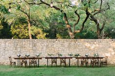 Farm Tables Used for a Floral Workshop with X-Back Wood Chairs. Rentals by Birch & Brass in Austin, TX. Photography by @shalynnelson.
