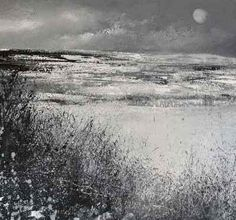 "British Artist Amanda Hoskin - ""Moonlight and Snow on the Moors"""