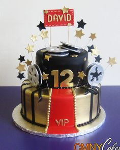 Black and Gold Hollywood Themed Cake
