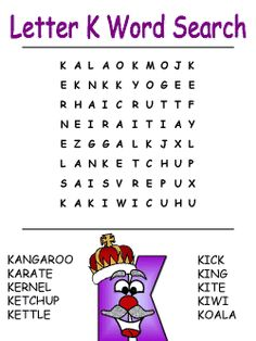 Letter K Word Search...