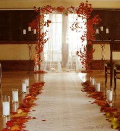 Fall wedding arch indoors Ceremony at The Restaurant, Hackensack by Limelight Floral Design Hoboken NJ