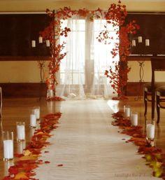 Fall wedding arch in