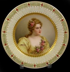 German ~ Hand painted ~ Portrait plate ~ Depicting Madame de Parabere ~ Finely painted with stunning gilt work to rim ~ Exquisite wreath design red and green enameling to outer rim ~ Signed Wagner