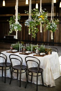 Outdoor Dining♥ Tablescape, Find old macrame hangings and put plants in them above tables.