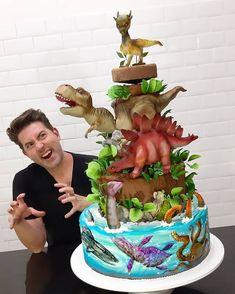 Image may contain: 1 person, food Dinosaur Cakes For Boys, Dinosaur Birthday Cakes, T Rex Cake, Dino Cake, Cake Boss, Blaze Birthday Cake, Jurassic World Cake, Paw Patrol Cake, Dragon Cakes