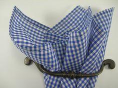 Ginham pocket square Royal Blue and white by LeBoutonVert on Etsy, $11.75