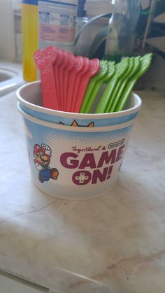 Picked these up from yogurtland. Perfect for our nintendo themed party.