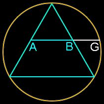 Phi, the Golden Ratio, construction with a triangle in a circlensert an equilateral triangle inside a circle, add a line at the midpoint of the two sides and extend that line to the circle.  The ratio of AG to AB is Phi.