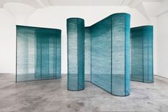 """Mimi Jung, """"Four Teal Walls"""" series, natural fibers woven over powder-coated steel ref: Knot for Profit: The Latest in Textile Art Instalation Art, Metal Tree Wall Art, Teal Walls, Style Deco, Exhibition Display, Weaving Art, Stage Design, Art Design, Community Art"""