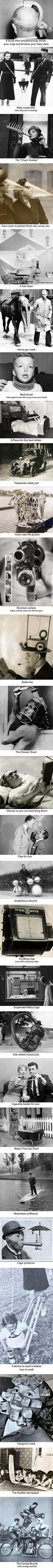 27 crazy inventions from the past. My personal favourites are the lying down glasses and the baby cage.
