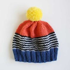 Playground Knit Hat in Coral and Blue