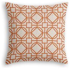 Orange & Natural Modern Trellis Custom Euro Sham :: $84