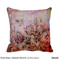 "Flower Paper - Polyester Throw Pillow 16"" x 16"""