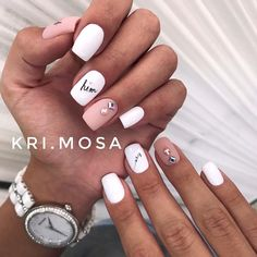 What Christmas manicure to choose for a festive mood - My Nails White Nails, Pink Nails, My Nails, Color Nails, Love Nails, Stylish Nails, Trendy Nails, Nails Today, Square Nail Designs