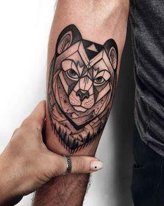 arm tattoo bear dotwork