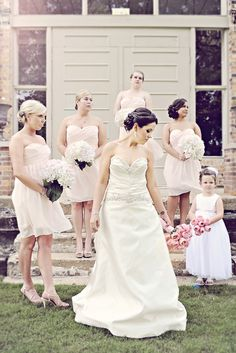bridesmaids dresses by Bill Levkoff - bride's dress by Watters (A. Whitmore Photography)