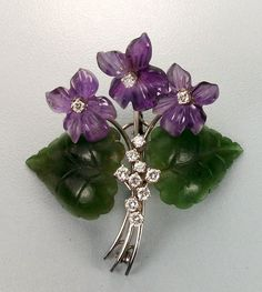 Awesome Vintage Bouquet of Violets Brooch - Diamonds, Amethyst, Jade