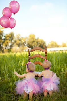 one year old twins balloons tutu bloomers field