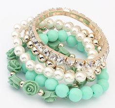 Lemon Value Fashion Charms Candy Color Beads Bangle Boho Vintage Crystal Flower Elastic Bracelet Women Jewelry Pulseras D086 - light green