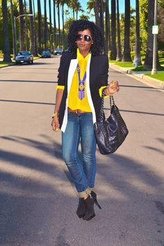 Boyfriend Blazer + Chiffon Button-Up + Skinny Jeans