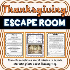 Teach your students interesting facts about Thanksgiving with this FUN and engaging Thanksgiving ESCAPE ROOM- Holiday Fun- November- No Props Needed! - Think Tank Teacher Thanksgiving Classroom Activities, Thanksgiving Facts, Holiday Activities, Thanksgiving History, Classroom Resources, Escape Room, My Escape, Coding For Kids, Class Pictures