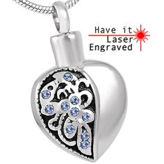 constantlife Graffiti Heart Shape Stainless Steel Memorial Ashes Keepsake Urn Necklace with Filling Kits
