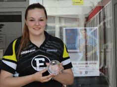 Angelique Gertenbach van de TTSD wint de consolation round bij het ITTF Slovakia Open in mei 2014.