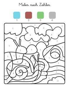 Die Felder mit der Zahl 1 werden blau, Felder mit der Zahl 2 braun, die mit der Zahl 3 grün und alle mit der Zahl 4 grau ausgemalt. Wenn Ihr Kind das ganze Motiv ausgemalt hat, kommt eine Schnecke zum Vorschein!