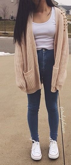 high waisted dark jeans white top beige tan knitted cardigan white converse - early fall? :)