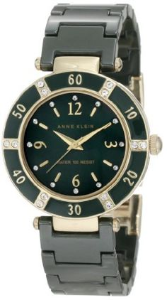 Anne Klein Women's 10/9416GMGN Swarovski Crystal Accented Gold-Tone Green Ceramic Bracelet Watch Anne Klein. $88.55. 12 swarovski crystals and green enamel accented bezel. Green ceramic link bracelet with jewelry clasp. Green mother-of-pearl dial with gold-tone arabic numerals at 12-3-6-9. Water-resistant up to 100 ft.. Gold-tone hour hands and 8 index markers