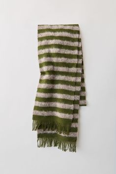 Acne Studios lilac green skinny scarf with stripes. 6847fbb9ad6
