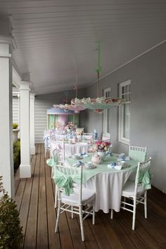 Tea Party anyone? Love the look of this...someday this will be on my backporch of my old dream farmhouse!