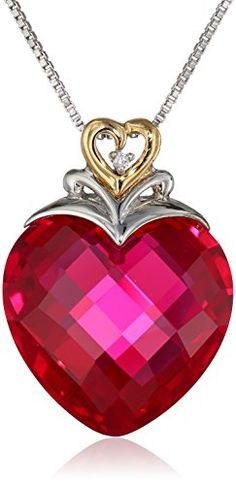 """XPY Sterling Silver and 14k Yellow Gold Created Ruby Heart and Diamond-Accent Pendant Necklace, 18"""" Amazon Curated Collection http://www.amazon.com/dp/B004GEB9M4/ref=cm_sw_r_pi_dp_M3fYub1BX70A4"""