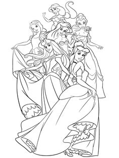 The Group Of Disney Princess Coloring Page Jasmine, Snow White, Belle, Ariel, Aurora [Sleeping Beauty], Cinderella
