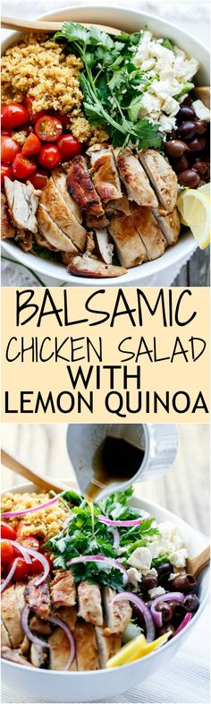 Balsamic Chicken Salad with Lemon Quinoa Collage   http://cafedelites.com