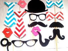 Wedding Photobooth Props - Photo Props - Wedding Photo props - Set of 15 - Red and Turquoise chevron Hipster Set via Etsy